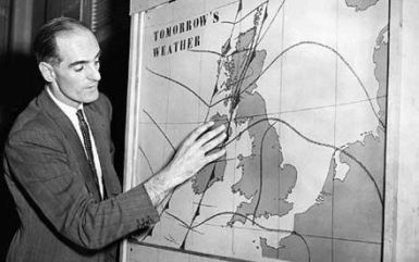 BBC George Cowling Weather Forecast 1954 Television